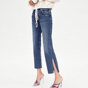 NWT Zara Cropped Distressed Jeans